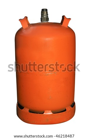 an spanish butane gas cylinder isolated on a white background - stock photo