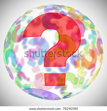 an sphere with question marks of different colors - stock photo