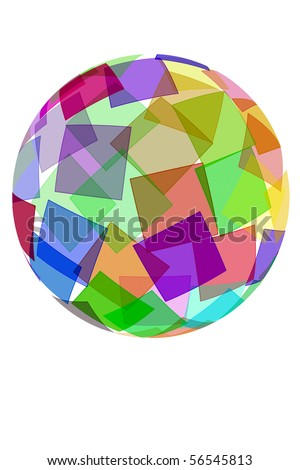 an sphere with squares of different colors on a white background