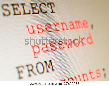 An SQL statement representing SQL injection where user data is compromised. Image of an LCD screen with a shallow DOF.