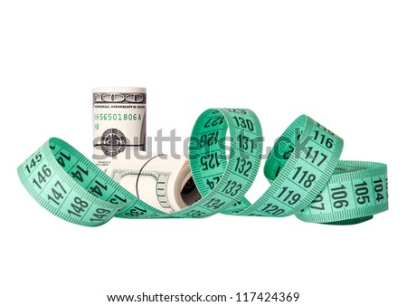 An symbol image economy package with dollar bill and tape measure - stock photo