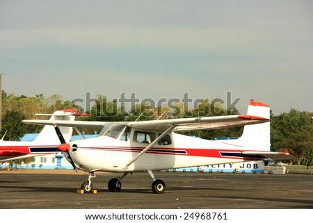 An ultralight plane in the hangar - stock photo
