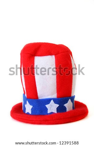 An Uncle Sam hat isolated on a white background with copy space. - stock photo