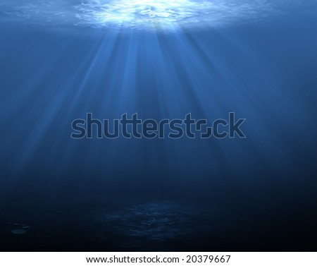 An underwater scene with sun rays shining through the water (dark bottom)