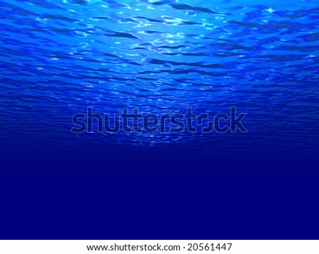 An underwater scene with sunlight shining through the water's glittering and moving surface. - stock photo