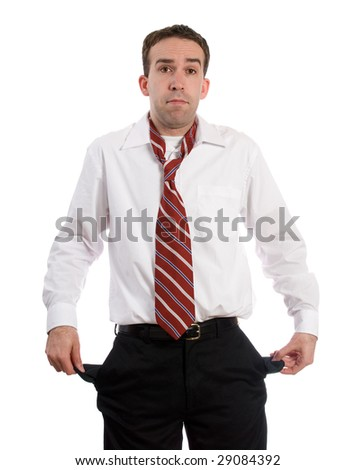 An unemployed man holding out his empty pockets, isolated against a white background - stock photo