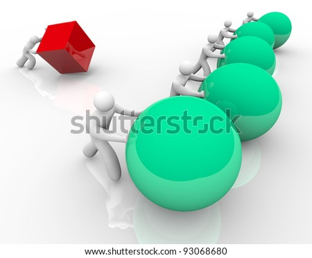 An unfair race or competition symbolized by a person attempting and failing to push a square or cube while competitors quickly move spheres or balls forward to win - stock photo