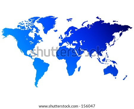 An unfolded map of the world - stock photo