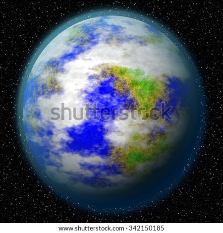An unknown planet in the universe.  Imaginary view of blue glowing earth orbit in a star field. Abstract cosmos in dark galaxy scientific astronomy background.
