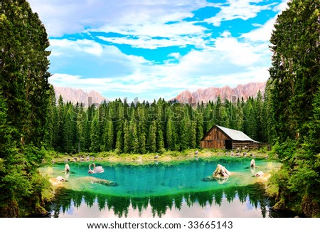 An unreal forest lake with swans. The picture composed of numerous images.