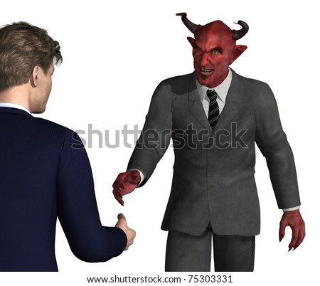 An unsuspecting businessman is about to shake hands with the devil - bad idea! 3D render with digital painting. - stock photo