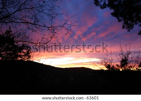 An untouched photo of a sunset in Branson, Missouri, USA - stock photo