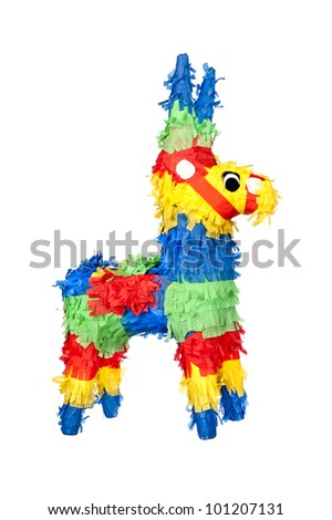 An unused, new party pinata for use at birthdays. Isolated on white for user convenience. - stock photo
