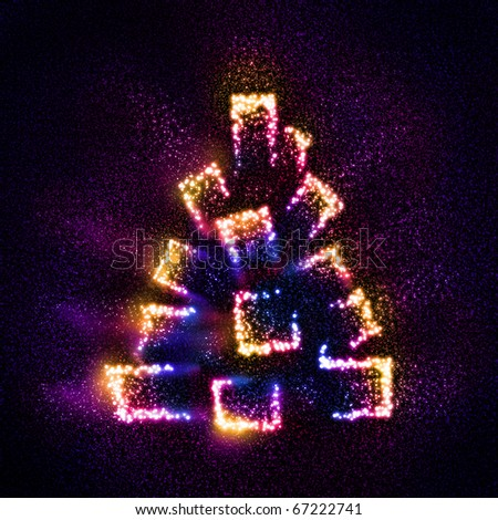 An unusual Christmas tree built of stars - stock photo