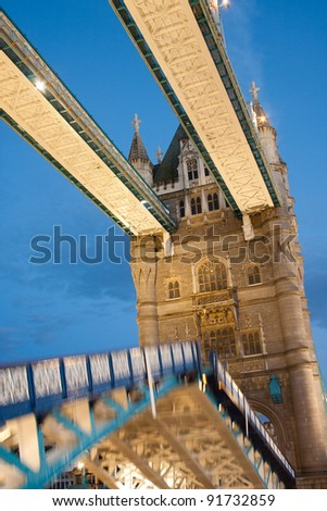 An unusual perspective of Tower Bridge opening - stock photo