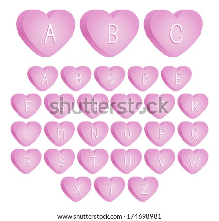 An uppercase font set of pink valentine's day candies. Raster. - stock photo