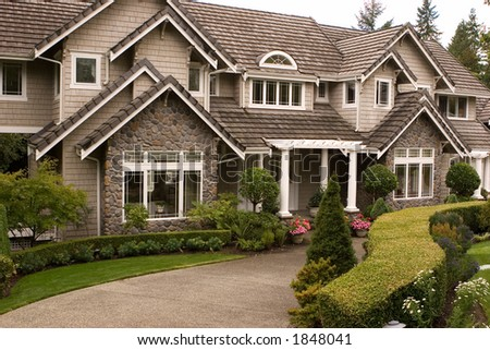 An upscale executive home. - stock photo