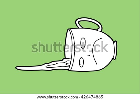 An upset sad pessimistic cartoon cup, which accidentally was pushed by awkward guest during a tea party, lies on a table in a puddle of spilled tea and feels alone and useless - stock photo