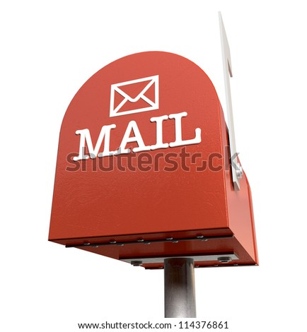 An upward view of a red old school retro tin mailbox with a white flag pointing upward showing that mail is present and an embossed mail envelope sign on an isolated background - stock photo