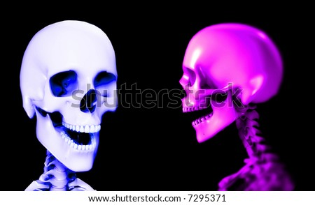 An x ray image of two people in which you can see the skull. A suitable medical or Halloween based image. - stock photo
