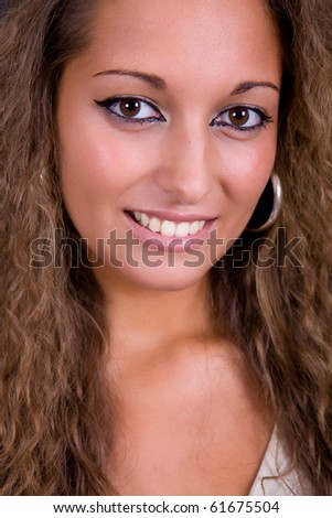 an young beautiful woman close up portrait