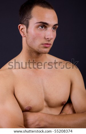 an young sensual man close up portrait