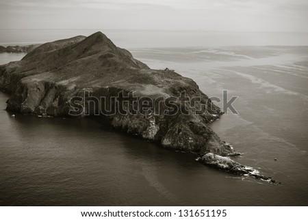 Anacapa Island aerial view duo-tone - stock photo