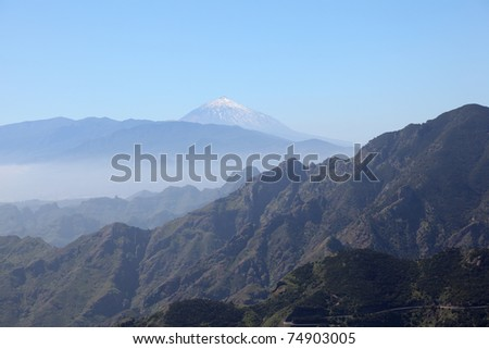 Anaga Mountains and Teide Volcano on Canary Island Tenerife, Spain