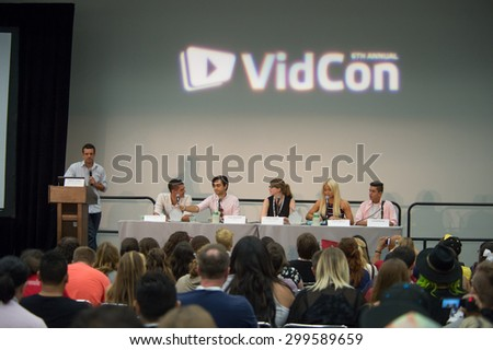 Anaheim, CA - June 23: A panel of online celebrities present at the 6th annual VidCon conference at the Anaheim Convention Center in Anaheim, California on June 23, 2015 - stock photo