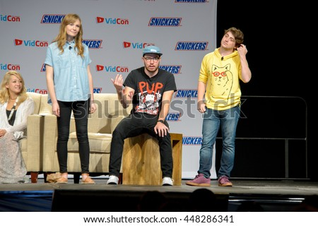 Anaheim, CA - June 24: (Far LR) Vernon Shaw and Jared Rosen host a panel discussion at the 7th annual VidCon conference at the Anaheim Convention Center in Anaheim, California on June 23, 2016