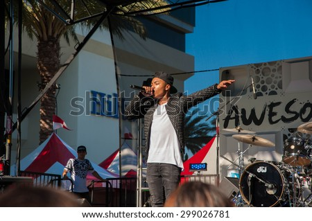 Anaheim, CA June 22: Josh Levi performs at VidCon's 6th annual conference at the Anaheim Convention Center in Anaheim, California on June 22, 2015 - stock photo