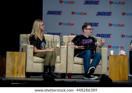 Anaheim, CA - June 24: (LR) Ashley Esqueda and Greg Miller at the 7th annual VidCon conference at the Anaheim Convention Center in Anaheim, California on June 23, 2016
