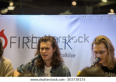 Anaheim, CA - June 23: Mark (L) and Michael Cook of The Ceremonies perform at VidCon 2015 at the Anaheim Convention Center in Anaheim, California on June 23, 2015 - stock photo