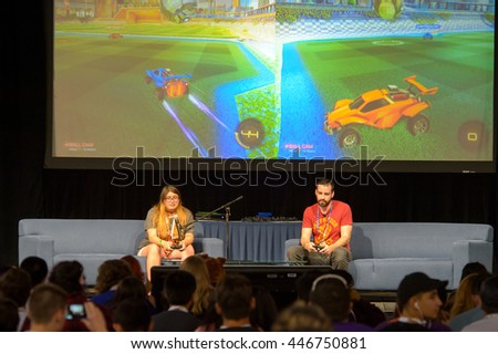 Anaheim, CA - June 23: Max Gonzalez also known as the Gassymexican plays games with audience member at the 7th VidCon at the Anaheim Convention Center in Anaheim, California on June 23, 2016