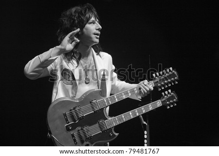 ANAHEIM, CA - JUNE 18: Steve Zukowsky of Led Zeppelin tribute band, Led Zepagain, rocks out at The Grove in Anaheim, CA on June 18, 2011. - stock photo