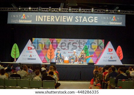 Anaheim, CA - June 24: Timothy DeLaGhetto(R) answers fans questions at the 7th annual VidCon conference at the Anaheim Convention Center in Anaheim, California on June 23, 2016