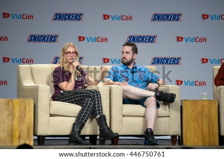 Anaheim, CA - June 23: YouTube Gaming panel discussion at the 7th annual VidCon conference. (LR) Ashley Equeda and Tim Gettys at the Anaheim Convention Center in Anaheim, California on June 23, 2016