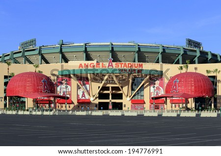 ANAHEIM, CA - MARCH 16: The Angel Stadium of Anaheim located in Anaheim, California on March 16, 2014. Angel Stadium of Anaheim is a ballpark which is home of the Los Angeles Angels of Anaheim of MLB. - stock photo