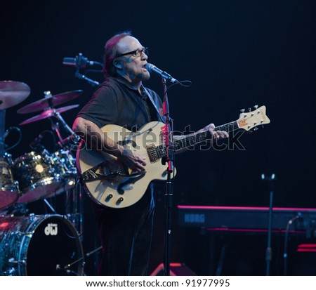 ANAHEIM, CA - NOVEMBER 22: Musician Stephen Stills performs at The Grove Theater on November 22, 2011 in Anaheim, California. - stock photo