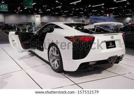 ANAHEIM, CA - OCTOBER 3: A Lexus LFA on display at the Orange County International Auto Show in Anaheim, CA on October 3, 2013. - stock photo