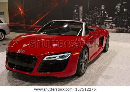 ANAHEIM, CA - OCTOBER 3: An Audi R8 V10 Spyder on display at the Orange County International Auto Show in Anaheim, CA on October 3, 2013. - stock photo