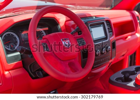 Anaheim, CA, USA - August 1, 2015: Dodge Ram Pickup Interior on display during Auto Enthusiast Day car show. - stock photo