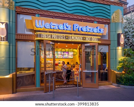 ANAHEIM, CALIFORNIA - FEB 11: Wetzel's Pretzel store at night on February 11, 2016 in Anaheim, California.  Wetzel's Pretzel a popular fast service pretzel restaurant.   - stock photo