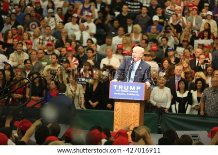 ANAHEIM CALIFORNIA, May 25, 2016: Republican Nominee Donald J. Trump speaks to Thousands of Fans at his Presidential Rally in the Anaheim Convention Center.  5.25.2016  - stock photo