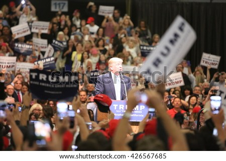 ANAHEIM CALIFORNIA, May 25, 2016:  Republican presidential candidate Donald Trump speaks at campaign event in Costa Mesa California to Thousands of Supporters.   - stock photo