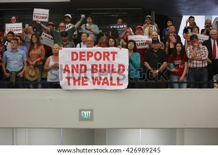 ANAHEIM CALIFORNIA, May 25, 2016: Thousands of Supporters, wave signs and show their support for Presidential Candidate Donald J. Trump at the Anaheim Convention Center rally on.  5.25.2016 - stock photo