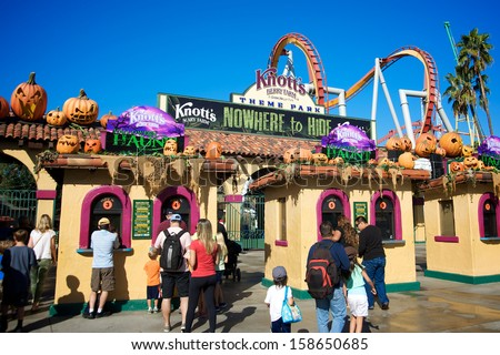 ANAHEIM, CALIFORNIA - OCTOBER 14: People entering Knott's Scary Farm at Knott's Berry Farm, celebrating a Southern California Halloween tradition, on October 14, 2013.  - stock photo