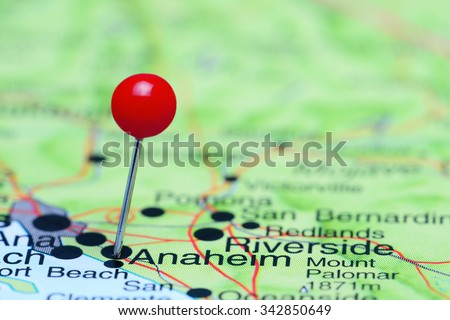 Anaheim pinned on a map of USA  - stock photo
