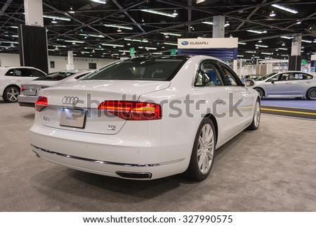Anaheim - USA - October 15, 2015: Audi A8 L during Orange County International Auto Show.