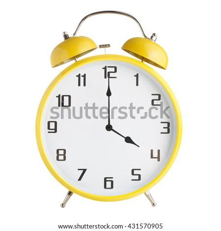 Analog alarm clock showing four o'clock isolated on white background - stock photo